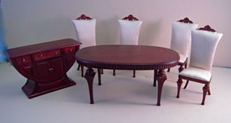 "1"" Scale Bespaq ""Swanson"" Six Piece Mahogany Deco Dining Room Set"