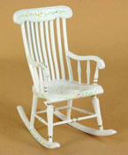 "Bespaq 1"" Scale ""Sweet Times"" White Hand Painted Rocker"
