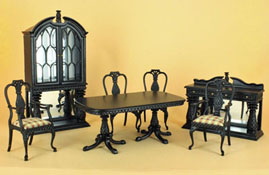 "Bespaq 1"" Scale Black Seven Piece Martinique Pineapple Dining Room Set"