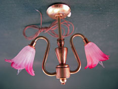 "Lighting Bug 1"" Scale Two Arm Flower Shade Chandelier"