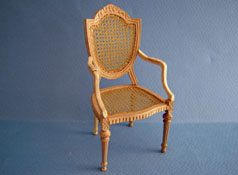 "1"" Scale Bespaq Unfinished Hand Caned Shield Back Arm Chair"