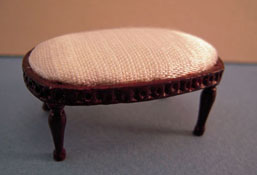 "1"" Scale Bespaq Mahogany With White Seamstress Stool"