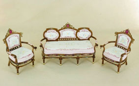 Bespaq 1� Scale Hand Painted Edwardian Princess Three Piece Parlor Set