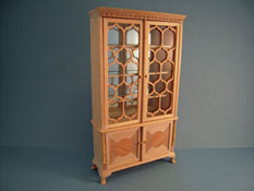 "Bespaq 1"" Scale Beautiful Unfinished Double Pedestal China Cabinet"