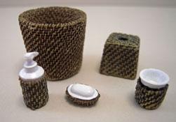 """1"""" Scale Miniature Wicker Five Piece Bathroom Accessory Set"""