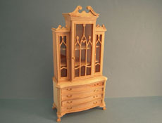 "Bespaq 1"" Scale Beautiful Unfinished Roderick China Cabinet"