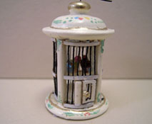 "1"" Scale Bespaq Hand Painted Wildflower Round Bird Cage"