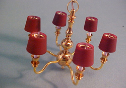 "1"" Scale Clare-Bell Brass Works Six Arm Chandelier with Red Shades"