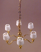 "Clare-Bell Brass 1"" Scale Six Arm Chandelier with White Shades"