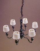 "1"" Scale Antique Black Six Arm Chandelier with Shades"