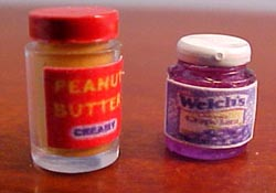 "1/2"" Scale Miniature Jars Of Peanut Butter and Jelly"