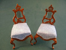 "Bespaq 1"" Scale Fantasy Lyre Walnut Chair Set"