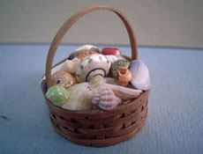 "1"" Scale Hand Crafted Basket Of Shells"