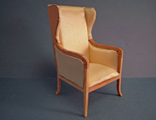 "1"" Scale Bespaq Unfinished Biedermeier Wing Chair"