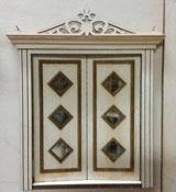 "Laser Dollhouse Designs 1/2"" Scale Miniature Three Diamond Custom Panel Double Door"