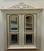 "Laser Dollhouse Designs 1/2"" Scale Miniature Classic Arched Two Panel Double Door"
