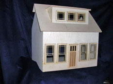 "Alessio Miniatures 1"" Scale Assembled Two Story Bungalow Dollhouse Kit"
