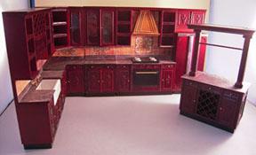"1"" Scale Bespaq Mahogany Bluette Provencial Kitchen Set"