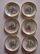 "By Barb 1/2"" Scale Six Piece Decorative Pastel Romance Plates"