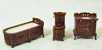 "1/2"" Scale Miniature Three Piece Walnut Bathroom Set"