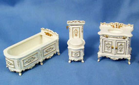 "1/2"" Scale Miniature Three Piece White Bathroom Set"