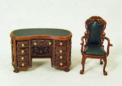 "1/2"" Scale Carved Walnut Two Piece Kidney Desk Set"