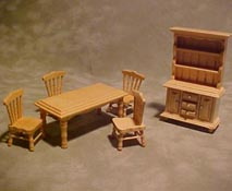 "Townsquare 1/2"" Scale Six Piece Oak Dining Set with Open Hutch"