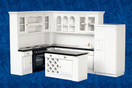 "1"" Scale Complete Black and White Kitchen Set"