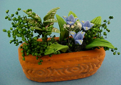 "Bright deLights 1"" Scale Blue Flowers In A Planter"