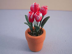 "Bright deLights 1"" Scale Frosted Tulips in a Clay Pot"