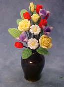 "Bright deLights 1"" Scale Spring Flowers in Black Vase"