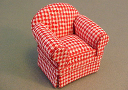 "Lee's Line 1/2"" Scale Miniature Red Checked Club Chair"