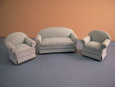 "Lee's Line 1/2"" Scale Miniature Seaglass Three Piece Sofa Set"