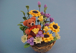 "Bright deLights 1"" Scale Teddy Bear Floral Arrangement"