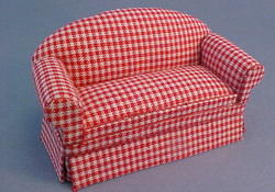 "Lee's Line 1/2"" Scale Miniature Red Checked Sofa"