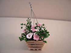"Bright deLights 1"" Scale Pink and White Floral Hanging Planter"