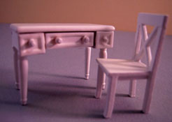 "Lee's Line 1/2"" Scale Miniature White Two Piece Desk Set"