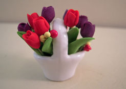 "Bright deLights 1"" Scale Red and Purple Tulips in a Ceramic Basket"