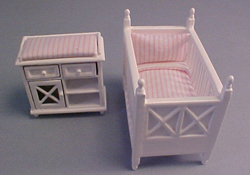 "Lee's Line 1/2"" Scale White Crib and Changing Table Set"