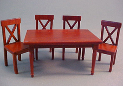 "Lee's Line 1/2"" Scale Miniature Spice Rectangular Dining Table Set"