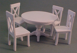 "Lee's Line 1/2"" Scale Miniature White Dining Table Set"