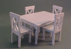 "Lee's Line 1/2"" Scale Miniature White Rectangular Dining Table Set"
