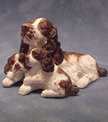 "1"" Scale English Springer Spaniel with Puppies"