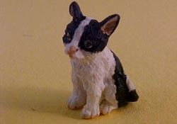 "1"" Scale Black and White Kitten"