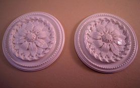 "Falcon Miniatures 1"" Scale Miniature Set Of Two Floral Ceiling Medallions"