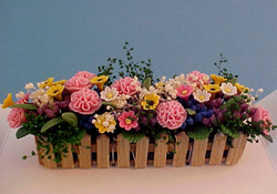 "Bright deLights 1"" Scale Pink Carnations In Picket Window Box"