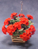 "Bright deLights 1"" Scale Red Geraniums in Hanging Planter"