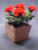"Bright deLights 1"" Scale Red Geraniums In A Planter Box"