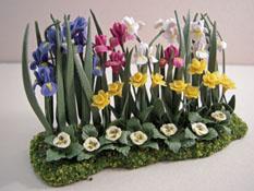 "Falcon 1"" Scale Iris and Jonquils Landscape Garden Flowers"