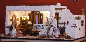 "ESTATE SALE 1"" Scale Susan's Dollhouse Adobe Hacienda With Furniture and Accessories"